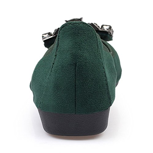 Sopra Mocassino inferiore Donna Shoes Piatto 8 signore Scivolare 3 morbido Comfort Taglia mocassino Scarpe Pelle Le Inteligente Parte HN green P6wxzd6