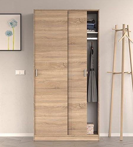 Serena - Armario, 2 puertas correderas, 100 x 200 cm, extragrante, efecto de roble ligero: Amazon.es: Hogar