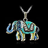 Crystal Colorful Necklace Cute Elephant Retro Fashion Sweater Chain Pendant Gift