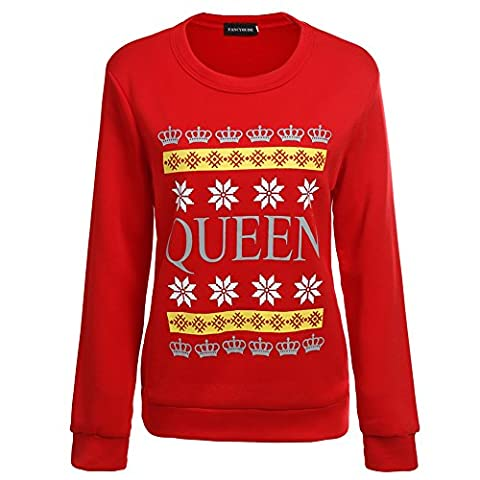 YJQ Christmas King & Queen - Matching Couple Crewneck Sweatshirts - His and Her Sweaters Women Red (Hers And His Crewneck)