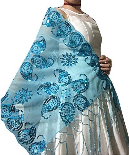 Nightycatty Women's Sequins Shawl Wedding Wrap Prom Sheer with Fringe,Tiffany Blue,One Size