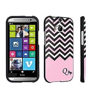 DuroCase ? HTC One M8 Hard Case Black - (Black Pink White Chevron Q)