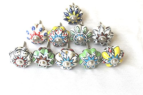 STREET CRAFT Decorative Designed Ceramic Cupboard Cabinet Door Knobs Drawer Pulls Floral Ceramic Knobs For Cabinets and Cupboards Hand Painted With Beautiful Leaf and Flower Design Pulls Set of 10 Crafts Door Pull