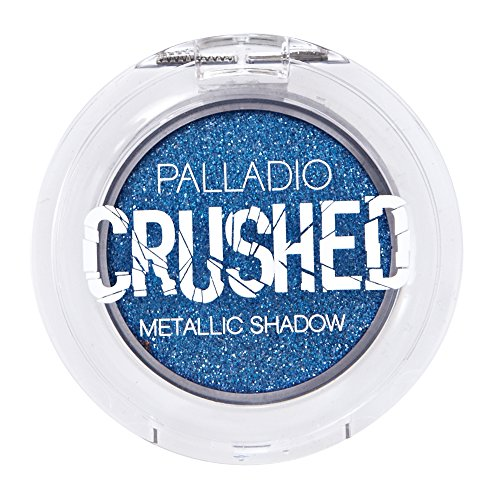 Palladio Crushed Metallic Eyeshadow, Blue Moon, Pressed Pigments for Highly Reflective Foil Finish, Cream Eyeshadow w/ No Creasing, Amazing Color Depth, Apply Glitter Eyeshadow with Eyeshadow Brushes (Best Mac Eyeshadows For Blue Eyes)