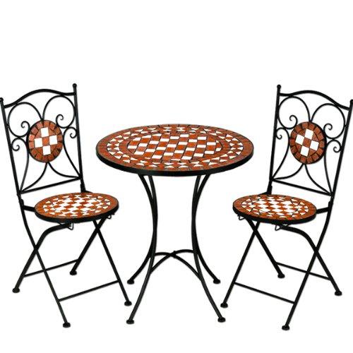 Mosaiksitzgarnitur Gernika 2x Stuhl + 1 Tisch Sitzgruppe Mosaiktisch Mosaikstuhl Gartentisch