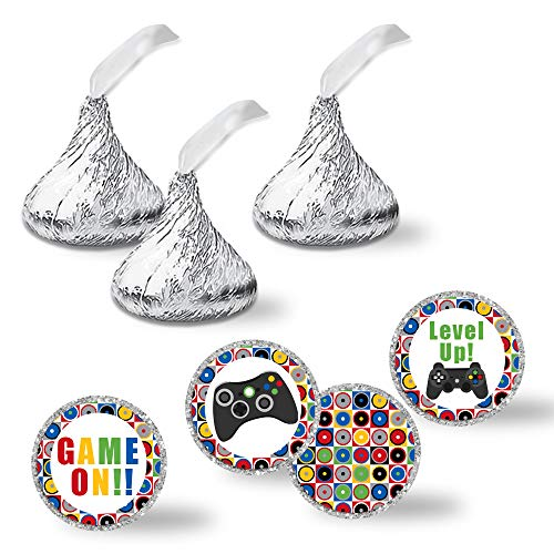 Game On! Video Gamer Birthday Party Kiss Sticker Labels, 300 Party Circle Sticker sized 0.75