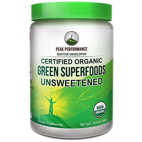 Peak Performance Organic Greens UNSWEETENED Superfood Powder. UNFLAVORED Green Juice Super Food with 25+ All Natural Ingredients for Max Energy & Detox. Spirulina, Spinach, Kale, Turmeric Probiotics (Protein Powder Without Caffeine)