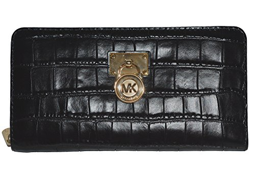 Michael Kors Hamilton Traveler LG Zip Around Wallet Leather Handbag Purse