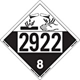 Labelmaster ZT4-2922 UN 2922 Corrosive Hazmat Placard, Tagboard (Pack of 25)