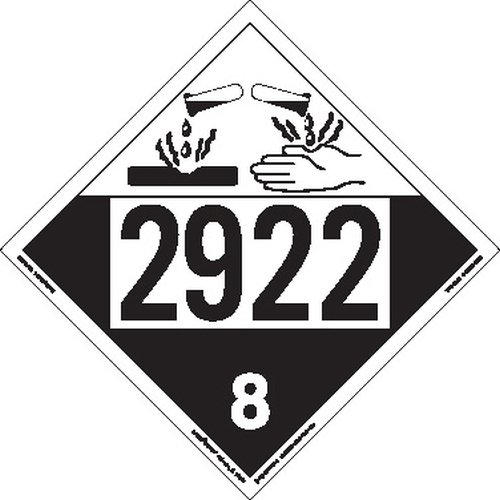 Labelmaster ZT4-2922 UN 2922 Corrosive Hazmat Placard, Tagboard (Pack of 25) by Labelmaster®