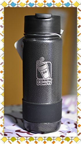 Dunkin Donuts 18oz Stainless Coffee Travel Mug Tumbler With Silicone Band (Black) (Donut Steel)