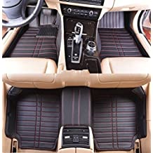 Okutech Custom Fit Luxury XPE Leather Waterproof 3D Full car Floor Mats for BMW Z4, Black red Stiching