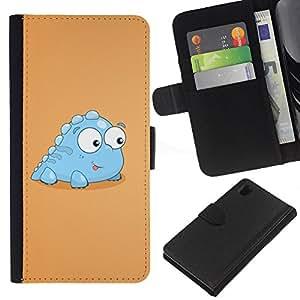 Sony Xperia Z1 L39 C6902 C6903 C6906 C6916 C6943 , la tarjeta de Crédito Slots PU Funda de cuero Monedero caso cubierta de piel ( Little Dinosaur Light Blue Creature Cartoon Art)