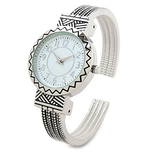 Silver Metal Western Style Round Face Decorated Women's Bangle Cuff (Western Style Bangle Watch)