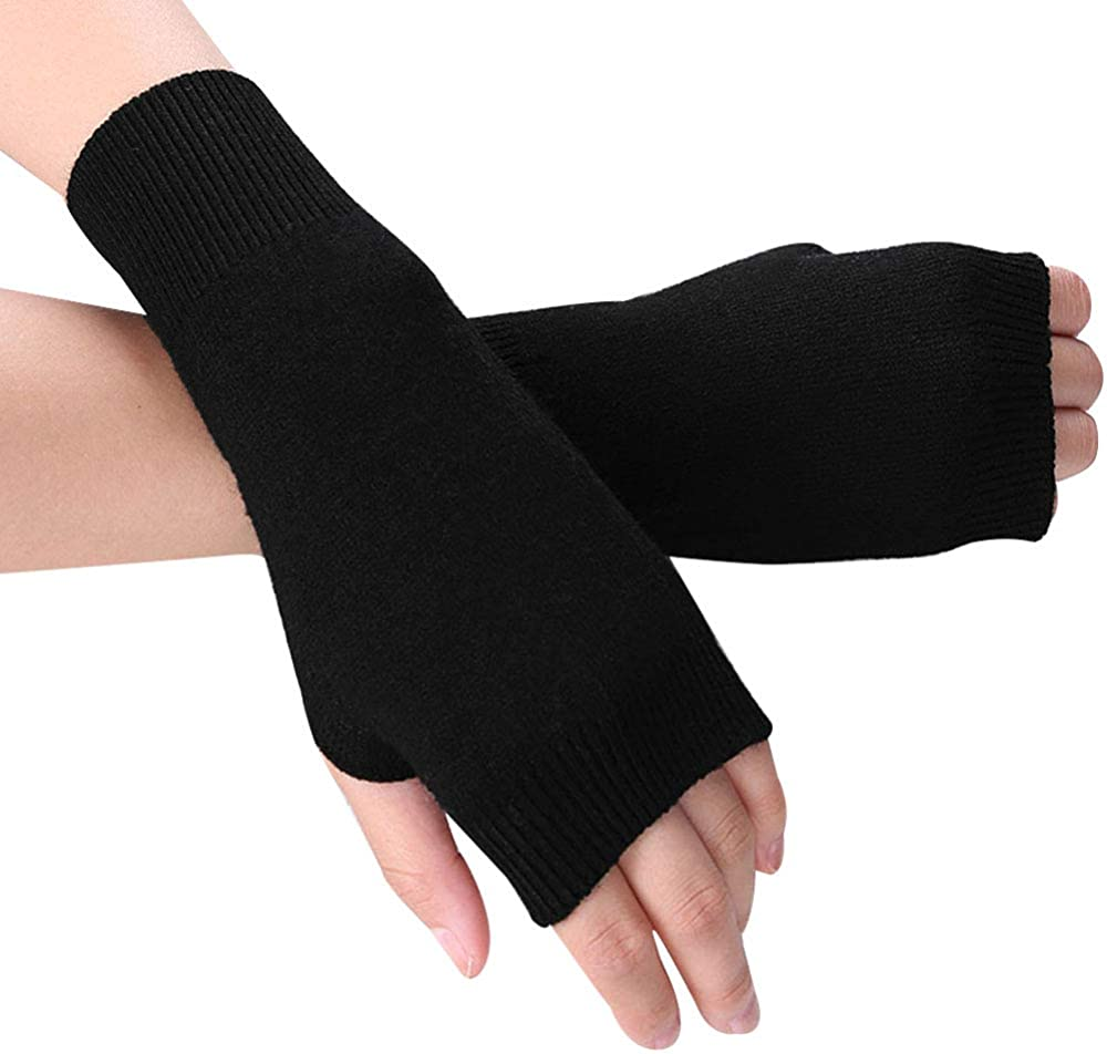 Van Caro Womens Wool Fingerless Gloves Stretchy Knit Thumb Hole Mittens