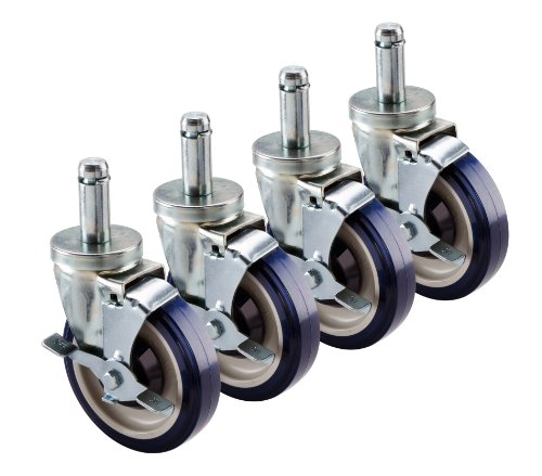 Krowne Metal 30-151S Set of (4) Economy Universal Wire Shelving Swivel Casters with Brakes, 5