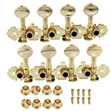 Surfing 1 Set 2PCS Gold Mandolin Machine Heads Tuning Pegs Metal Button