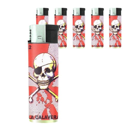 Loteria Pirate Skull Butane Refillable Electronic Lighter Set of 5 Pieces D-434