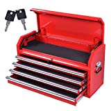 Goplus 36-Inch Portable Metal Tool Box Tool Chest Cabinet w/ 4 Drawers, Red