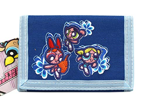 The Powerpuff Girls Dual Tone Blue Colored Floral Tri-fold Wallet