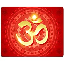 Liili Mouse Pad Natural Rubber Mousepad IMAGE ID: 15656042 beautiful shiny om sign on red background