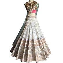 RAMAPIR FASHION Women's Mirror Bhagalpuri Silk Neet Semi-Stitched Lehenga Choli