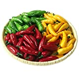 Gresorth 60pcs Artificial Lifelike Simulation Small Pepper Chili Paprika Fake Vegetable (Yellow Red Green) Each Color 20pcs