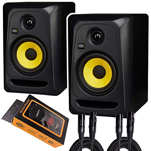 "KRK Classic 5 Professional Bi-Amp 5"" Powered Studio Monitor (2 Speakers) Pair of XLR Cable + Gravity Phone Holder M"