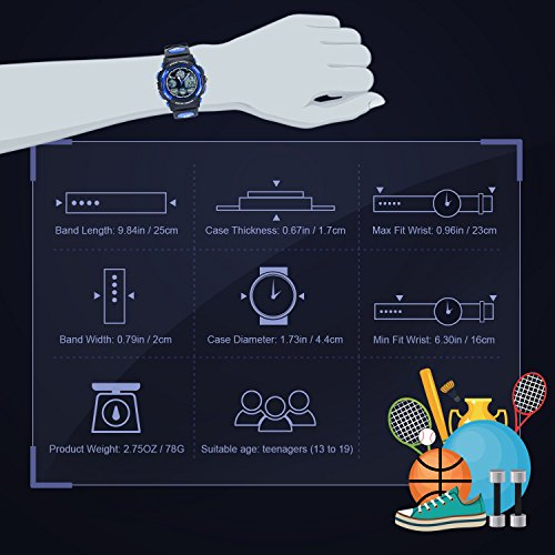 HIwatch Youth Watches Boys Girls Water-resistant Sports Digital Wrist Watch for Teenager Students,Blue by Hi Watch (Image #4)