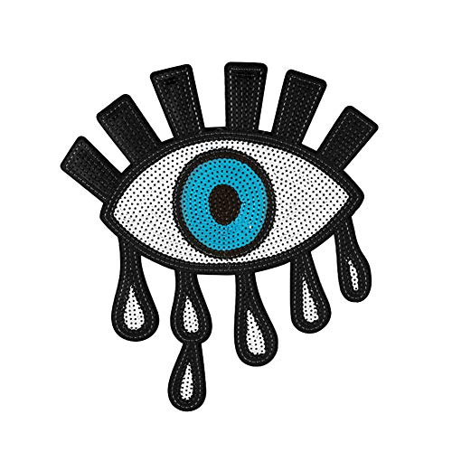 Punk Eye Eyeball Applique Iron-On Embroidered Shiny Sequins Patch Accessory yingyue]()