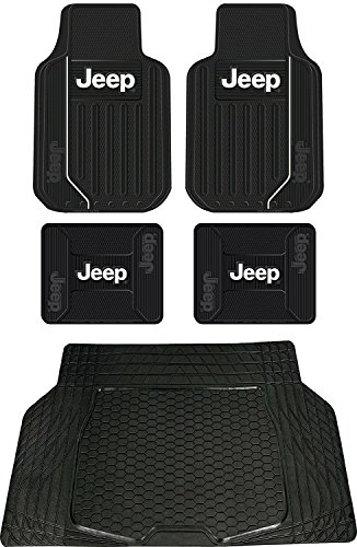 5pc Jeep Original Logo Elite Style Universal Front and Rear Rubber Floor