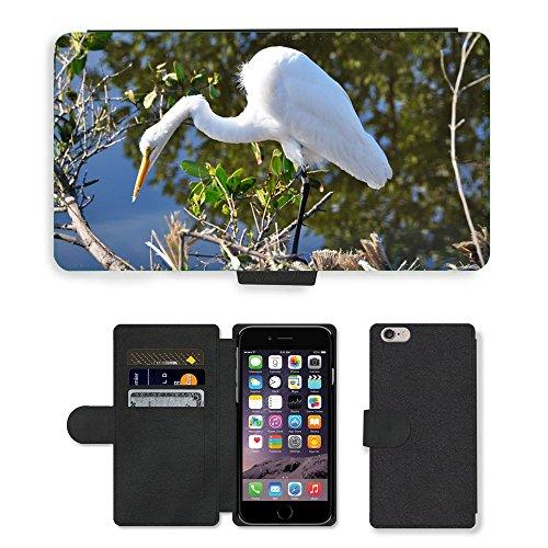 """Just Phone Cases PU Leather Flip Custodia Protettiva Case Cover per // M00128154 Egret Floride White Bird faune // Apple iPhone 6 PLUS 5.5"""""""