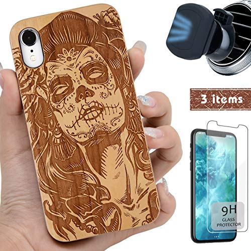iProductsUS Wood Phone Case Compatible with iPhone XR, Magnetic Mount and Screen Protector, Engrave Skull Girl (Day of Dead), Compatible Wireless Charger, Built-in Metal Plate, TPU Cover (6.1 inch)