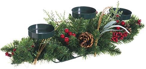 30 pulgadas de largo de Navidad centro de mesa portavelas con pino ...