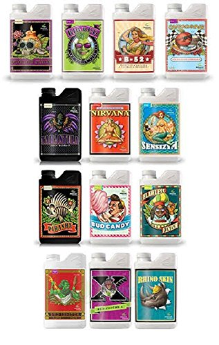 Advanced Nutrients Additives Bundle - (Bud Ignitor, Big Bud, Overdrive, Voodoo Juice, Piranha, Tarantula, B-52, Nirvana, Rhino Skin, Bud Factor X, Bud Candy, Flawless Finish & Sensizym) (250ml) by Advanced Nutrients