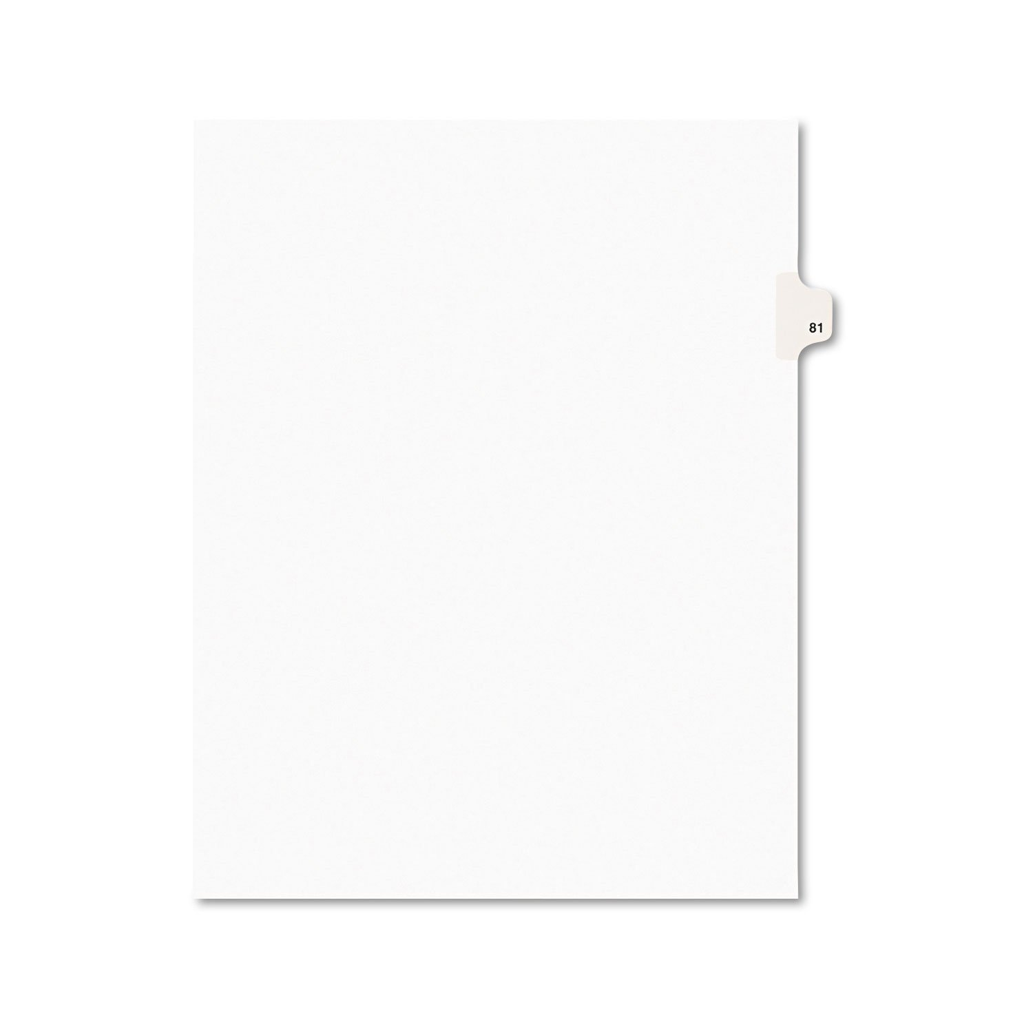 Avery 01081 Avery-Style Legal Exhibit Side Tab Divider, Title: 81, Letter, White, 25/Pack
