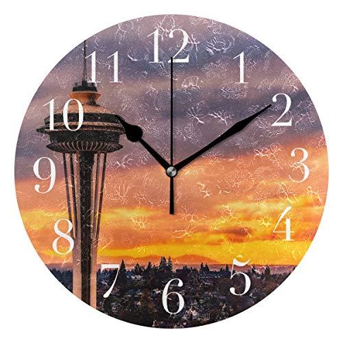 Round Wall Clock Custom Seattle Wallpaper Acrylic Creative Decorative for Living ()
