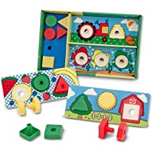 Melissa & Doug Sort! Match! Attach! Nuts and Bolts Boards - Educational Toy With 12 Nuts, 12 Bolts, and 6 Wooden Boards