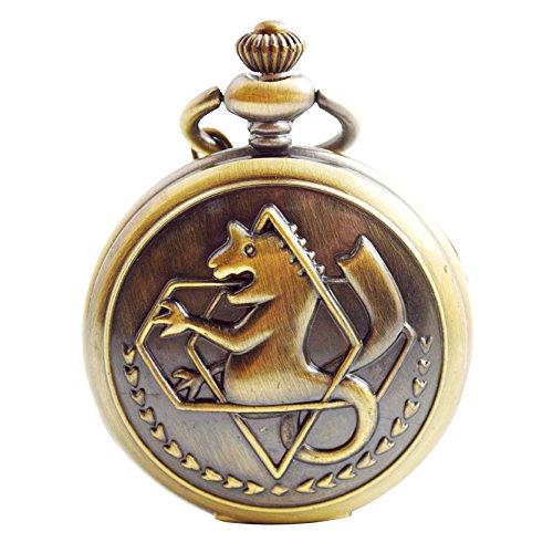 Cosplay Pocket Watch (BOSHIYA Mens Steampunk Fullmetal Alchemist Pocket Watch Quartz Edward Elric Anime Merch Cosplay Pendant up Pocket Watches with Chain)