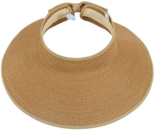 TAUT Women's Roll up Wide Brim Straw Hat Visor with (Straw Hats Wholesale)