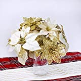 Supla 24 Pack Christmas Gold Glitter Poinsettia