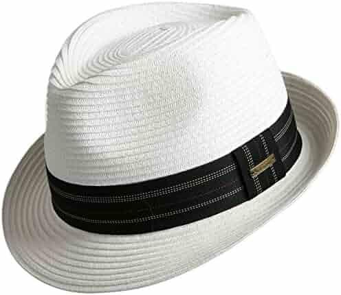 Sedancasesa Unisex Fedora Straw Sun Hat Paper Summer Short Brim Beach Jazz  Cap f83947093e13