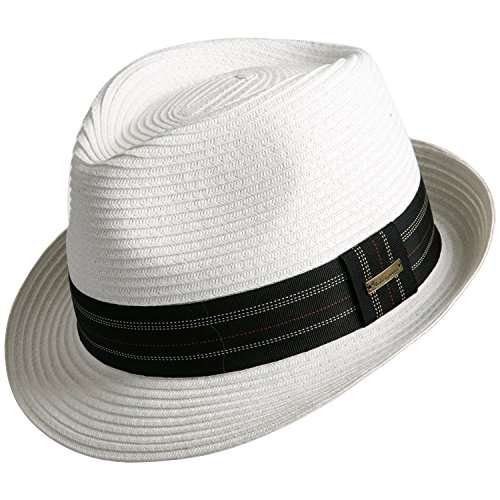 Sedancasesa Unisex Fedora Straw Sun Hat Paper Summer Short Brim Beach Jazz Cap White