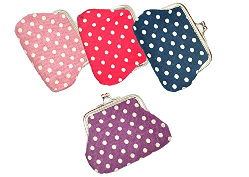 Oyachic 4 Packs Coin Pouch Canvas Purse Pattern Clasp Closure Wallet Exquisite Gift 3.5