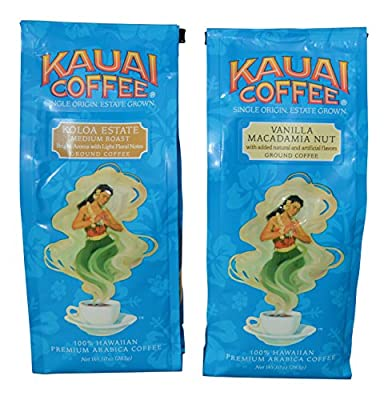 Gourmet Hawaiian Coffee, Variety pack from Kauai. 1 - Koloa Estate Medium Roast and 1- Vanilla Macadamia Nut - (2 Pack)