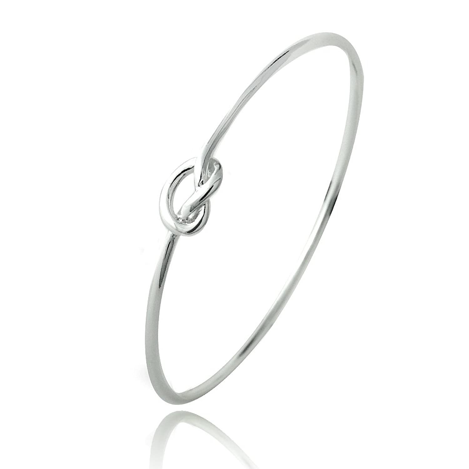 Hoops & Loops Sterling Silver Polished Love Knot Bangle Bracelet