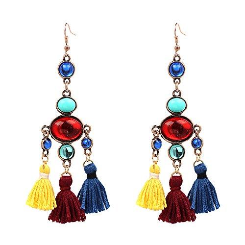 lureme Bohemia Chandelier Multi Color Beads Vintage Short Drop Dangle Tassels Earrings(er005676)