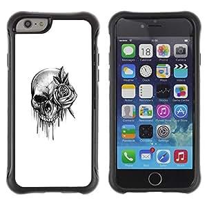 Fuerte Suave TPU GEL Caso Carcasa de Protección Funda para Apple Iphone 6 / Business Style skull rose rock roll death metal ink