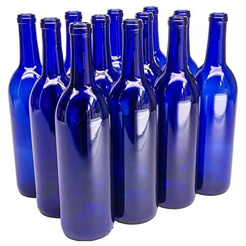 North Mountain Supply 750ml Glass Bordeaux Wine Bottle Flat-Bottomed Cork Finish - Case of 12 - Cobalt Blue (Wine Bottle Shaped Glasses)