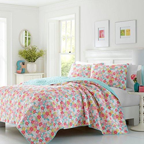 - 3 Piece Girls, Antique Farmhouse Classic Floral Pattern Quilt Set King, Traditional Cottage Bouquet Flower Design, Unique Coastal Themed, Gingham Check Reversible Bedding, Adorable Pink, Multi Color